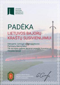 Padėka Lietuvos bajorų kraštų susivienijimui